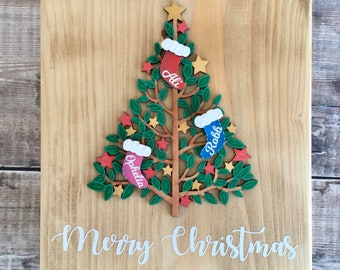 Personalised Christmas stockings or ornaments on Christmas tree plaque custom made to order in your choice of colours