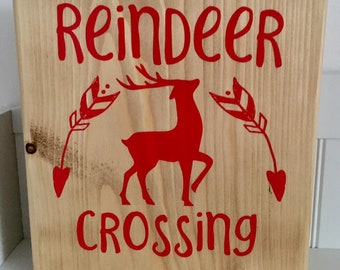 Freestanding 20cm wooden block with red Reindeer Crossing sign