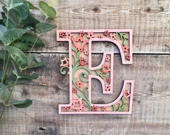 Custom floral letter flourishes - cut out layered decorated initial - personalised 3 sizes hand made to order in any colours