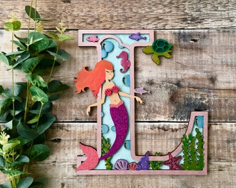 Custom mermaid letter under the sea - cut out layered decorated initial - personalised 3 sizes hand made to order in any colours