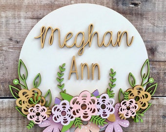 Custom layered 3D name sign with wooden flowers & foliage - choice of fonts and any colours