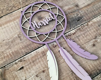 Personalised wooden dream catcher with name or word - your choice of any colours, patterns, glitter, etc.
