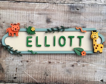Personalised wild safari jungle animals  street sign - choice of any colours, patterns and/or glitter of your choice