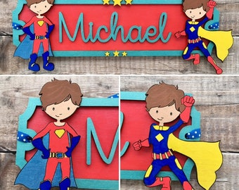 Super hero boys & girls street sign - choice of fonts and any colours , patterns and/or glitter of your choice