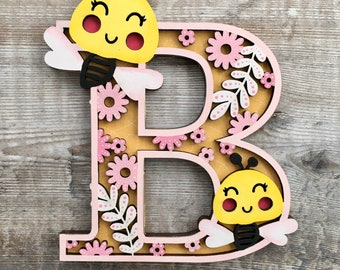 Custom Bee letter - cut out layered decorated initial - personalised 3 sizes hand made to order in any colours