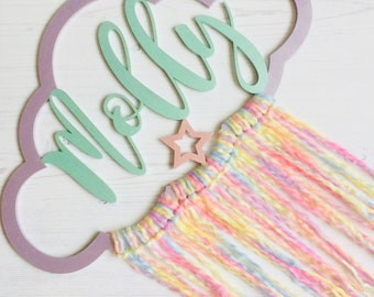 "Personalised cloud ""Molly"" in bright pastel colours with rainbow tassels metallic paint purple mint pink pastel rainbow tails"