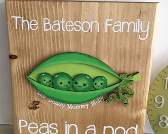 Peas in a pod family sign - your choice of colours, fonts, style, etc.