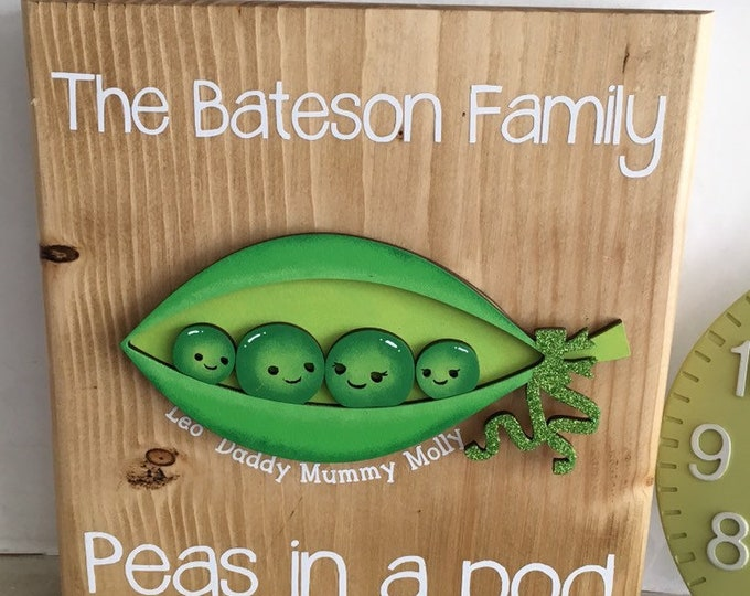 Featured listing image: Peas in a pod family sign - your choice of colours, fonts, style, etc.