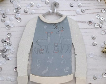 Personalised Christmas jumper ornament: blue deer, fox & woodland creatures with white glitter arms