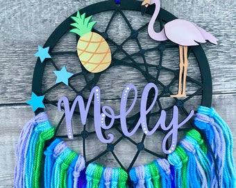 Personalised flamingo dream catcher in your choice of colours - custom hand made to order in 3 sizes