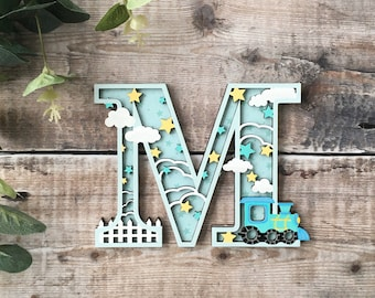 Custom train letter - cut out layered decorated initial - personalised 3 sizes hand made to order in any colours