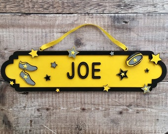 Rugby themed street sign - personalised with any name(s) - choice of any colours, patterns and/or glitter of your choice