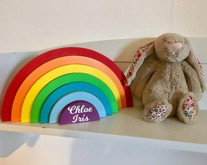 Featured listing image: Customised 7-piece interlocking wooden rainbow with personalisation any colours, patterns & glitter