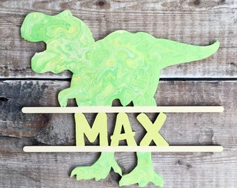 Personalised dinosaur monogram - 6 designs - customised with any name or word various sizes in any theme colours, patterns, etc