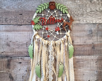 Personalised woodland dream catcher in your choice of colours - 3 sizes