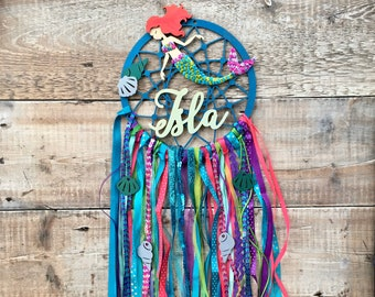 Personalised mermaid dream catcher in your choice of colours - 3 sizes