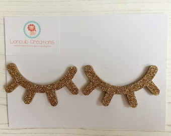 7cm gold glitter eyelashes, hand-decorated gold glitter lashes