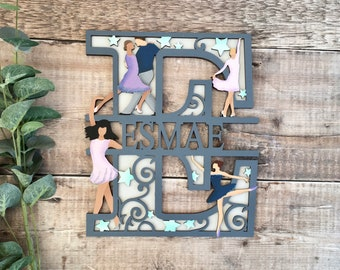 Custom dancing theme split name letter - cut out layered decorated initial with name/word- personalised 3 sizes handmade to order