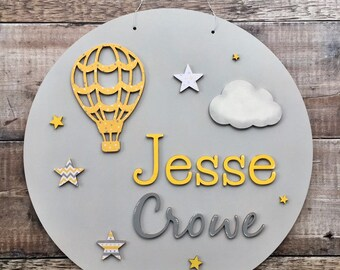 Custom layered 3D name sign with hot air balloon theme personalised in any colours & style