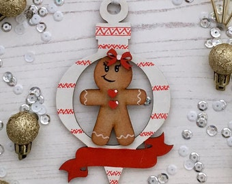 Personalised Gingerbread lady white and red ornament with banner