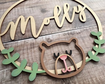 Personalised hoop with teddy bear wreath bottom - made to order