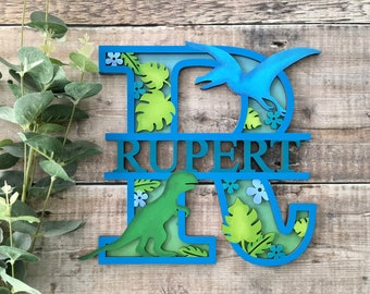 Custom dinosaur split name letter - cut out layered decorated initial with name/word- personalised 3 sizes handmade to order any colours