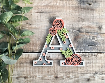 Custom flower letter rose foliage - cut out layered decorated initial - personalised 3 sizes hand made to order in any colours