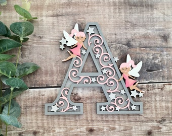 Custom fairy letter with flourishes - cut out layered decorated initial - personalised 3 sizes hand made to order in any colours