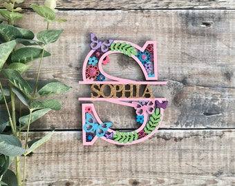 Custom butterfly & flower theme letter - cut out layered decorated initial - personalised 3 sizes hand made to order in any colours