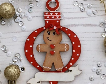 Personalised Gingerbread lady bauble red and white ornament with banner