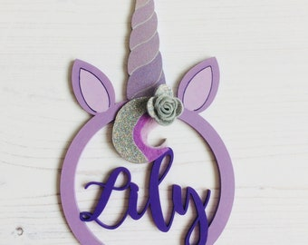 "Unicorn hoop ""Lily"" 20cm in metallic purple and lilac shades, with silver glitter felt flower and mane forelock personalised gift kids decor"
