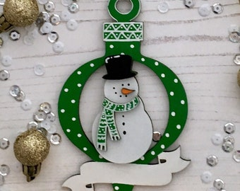Personalised Christmas Snowman ornament with banner customised in any colours and style of your choice