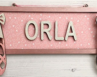 Personalised ballet street sign - made to order, 40cm wide in any colours, patterns and/or glitter of your choice