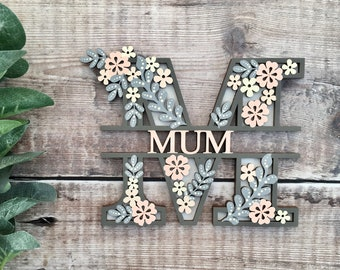 Custom floral split name letter flowers - cut out layered decorated initial w/ name/word- personalised 3 sizes handmade to order any colours