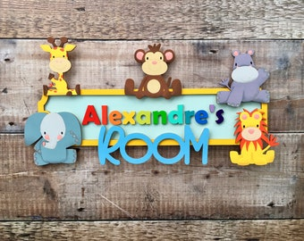 Zoo & wild animal sign - choice of fonts and any colours , patterns and/or glitter of your choice