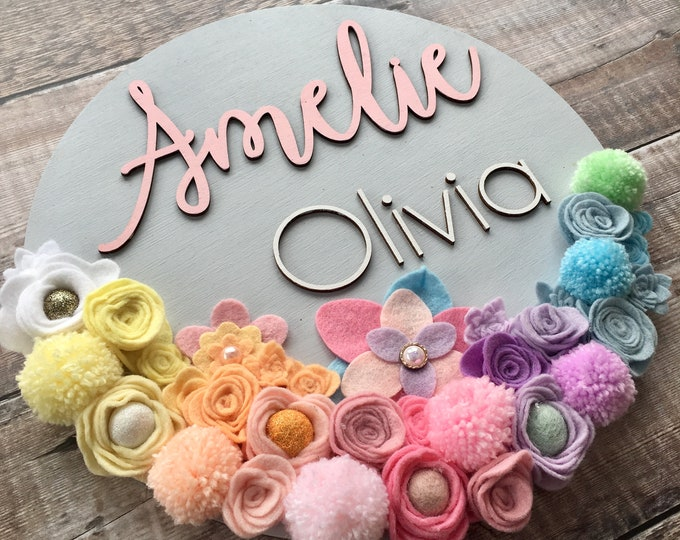 Featured listing image: Custom layered 3D name sign with felt flowers - choice of fonts and any colours