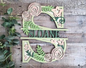 Custom flower letter rose flourish - cut out layered decorated initial - personalised 3 sizes hand made to order in any colours