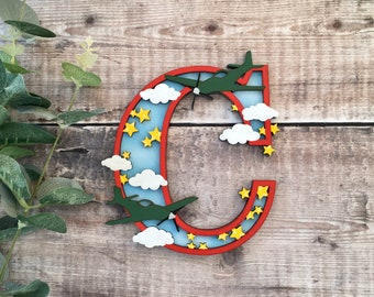Custom airplane theme letter Spitfires - cut out layered decorated initial - personalised 3 sizes hand made to order in any colours