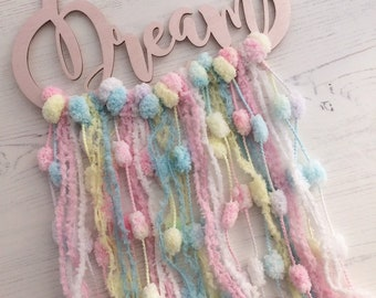 Pink pastel candy coloured Dream pom pom cloud - pompom fluffy yarn tassels