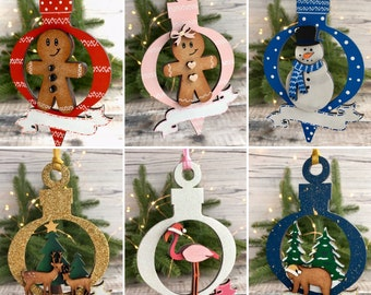 Set of 4, 6 or 8 personalised ornaments - gingerbread, snowman, bears, deer, flamingos; any colours, styles, etc