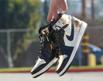 100% authentic 88203 f0b47 Golden LV Air Jordan 1 Custom Sneakers Limited Edition