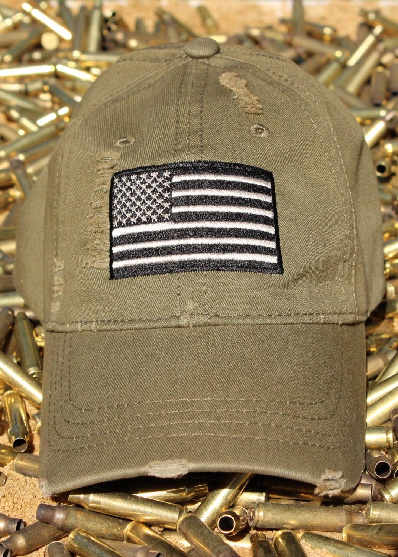 7bd3560c79c Distressed OD Green American Flag Hat