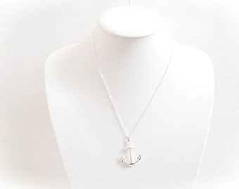 silver and rose gold Anchor necklace, silver anchor necklace, rose gold anchor necklace, anchor symbol,  anchor necklace, anchor necklaces