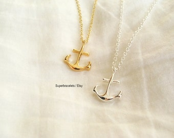 pendant necklace, anchor pendant necklace, anchor necklace, gold anchor necklace, silver anchor necklace, anchor necklaces,