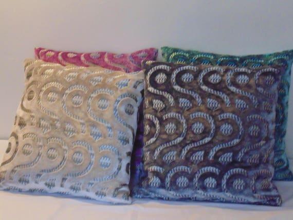 Designers Guild Velvet Latticino Cushion Cover