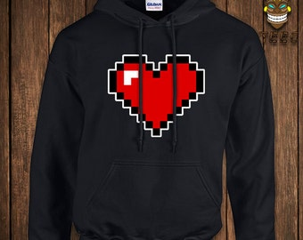 7e28002c31e938 Funny Video Game Hoodie 8-Bit Heart Geek Arcade Hooded Sweater Gift For  Geek Sweatshirt Nerd Gamer Retro Old School College Humor Nerd