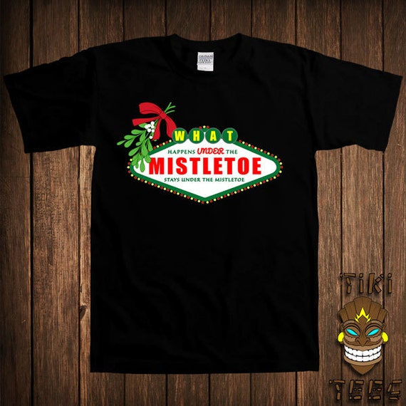 Christmas Mistletoe Happens Stays Funny Black Adult Soft T-Shirt