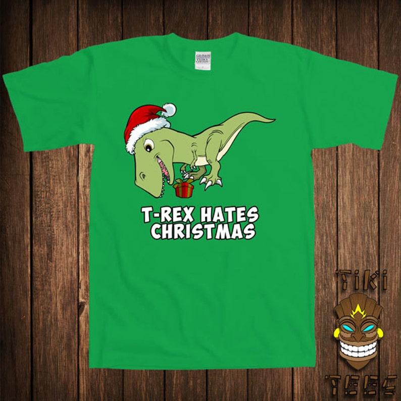 8012e9e39 Funny T-rex Hates Christmas T-shirt Trex Dinosaur Tshirt Tee | Etsy