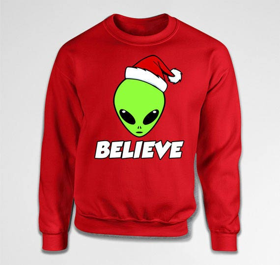 Nerd Christmas Jumper.Funny Believe Alien Ugly Christmas Sweater Ufo Holiday Jumper Space Nerd Geek Gift For Him Martian Xmas Pullover Hoodie Present Tiki 02