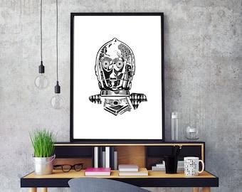 C3P0, art poster Star Wars, Star Wars impression, C3P0 ROBOT, impression typographique, noir et blanc, fichier numérique, encadré disponible